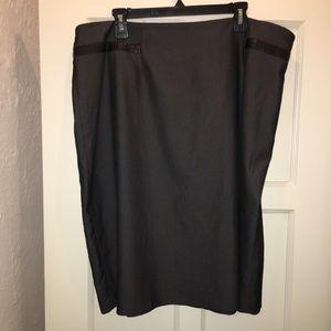 Jones New York Grey Leather trimmed Skirt Plus 22W
