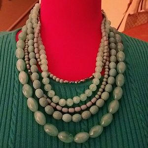 Rains Jewelry - Turquoise and gold layered beaded necklace