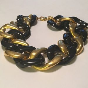 Bauble Bar Jewelry - Oversized Chain Black & Faux Gold Ncklce Apprx 15""