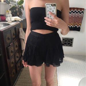 Isabel Lu Pants - Isabel Lu Black Lace Flared High Waist Shorts