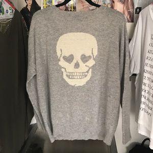 Skull Cashmere Gray Heart Eye 😍 Skull Sweater