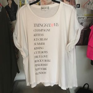 """RARE Wildfox Couture """"Things I love"""" oversized tee"""