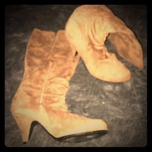 Camel faux suede boots. Mid calf height.