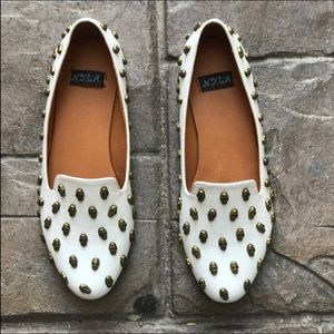 N.Y.L.A. Shoes - Skull Gold and White Flat Loafers