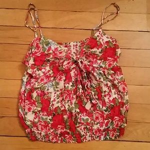 Forever21 red floral tank top, small