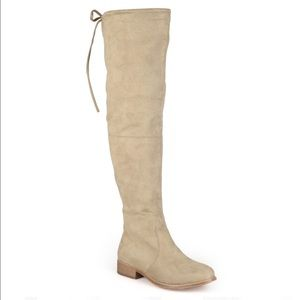 Nude thigh high suede boots