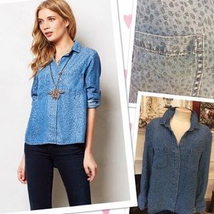 Cloth and stone soft chambray top M Anthropologie