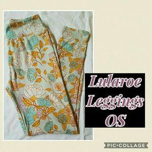 NWT Lularoe Leggings OS - flowers on pale blue