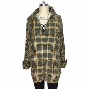 Vintage Tops - COZY COMFY WORN IN THIN CORDUROY PLAID BUTTON DOWN