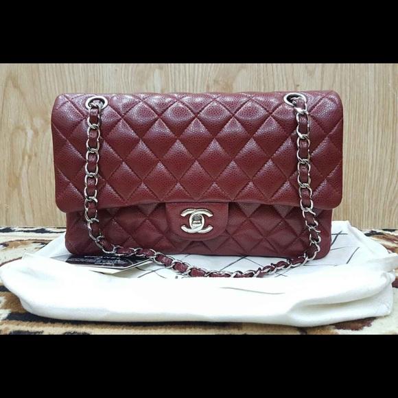 77b137537874 CHANEL Bags | Sold Medium Double Flap Bag Burgundy Shw | Poshmark