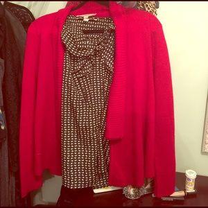 LOFT Sweaters - Red Loft cardigan and black pattern ruffle shell