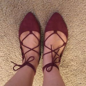 Madden Girl Shoes - Madden Girl burgundy suede flat shoes
