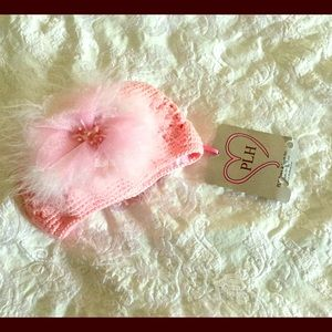 PLH Bows & Laces Other - NWT PLH Pink Crocheted Baby Hat