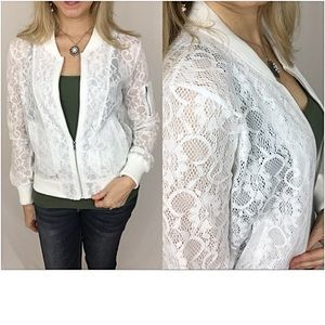 Jackets & Blazers - ✨SALE Off White Lace Bomber Jacket SML