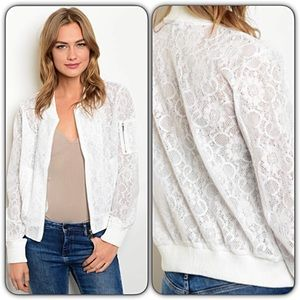 Jackets & Blazers - Off White Lace Bomber Jacket SM