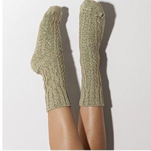 Peony and Moss Accessories - Green Marled Cable Crew Socks