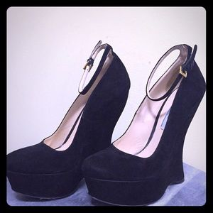 Prada Suede Ankle Strap Pumps Black Wedges 38 1/2