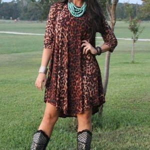 custom Dresses & Skirts - 💓HOST PICK💕ONLY 2 LEFT leopard tunic swing dress