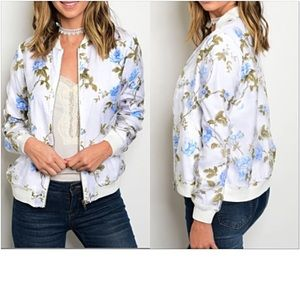 Jackets & Blazers - Gorgeous Blue Rose Bomber Jacket Small