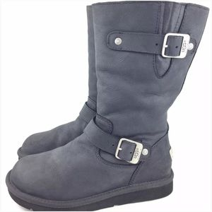 UGG Shoes - UGG Kensington Black Leather Tall Buckle Boots