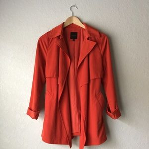 The Limited Jackets & Blazers - The Limited coral red belted trench