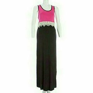 Pinc Premium Dresses & Skirts - FIRM🎯NEW PINC Maternity Med Pink Black Maxi Dress