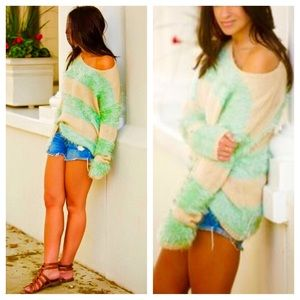 Rehab Mint Striped Fuzz Sweater