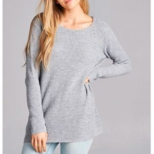 Wind and Willow Sweaters - Cozy Gray Knit Sweater