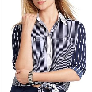 LAUREN Ralph Lauren Striped Crepe Shirt Size 3X