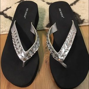 Shoes - Joe Boxer Black Jeweled Sandals Size 6