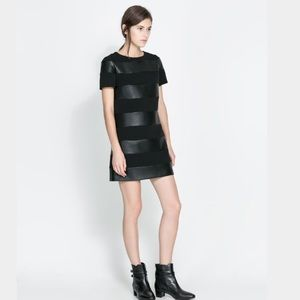 Zara Faux Leather Stripe Dress