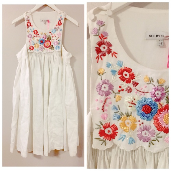 6a554ec9897 See by Chloe White Embroidered Linen Dress