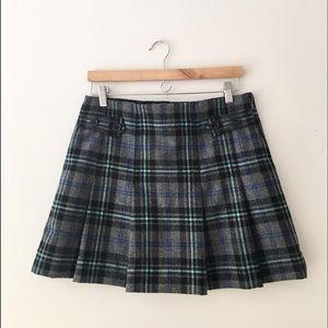 GAP Pleated Plaid Wool Mini Skirt