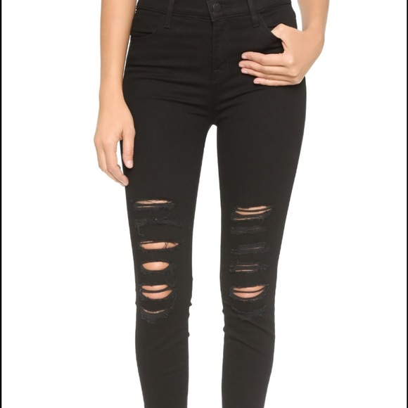 J Brand high rise jeans with holes