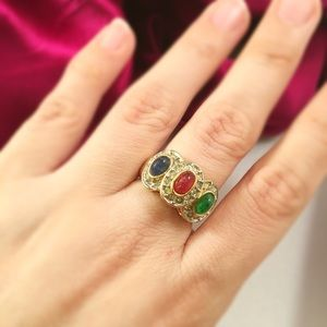 Vintage Jewelry - VINTAGE 14KT Tri Color Cabochon Ring