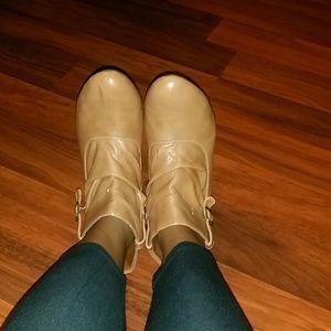 Ankle booties tan worn twice low heel.