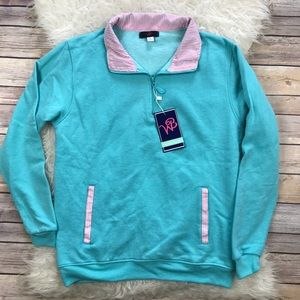 WB Tops - NWT WB Teal & Seersucker Popover