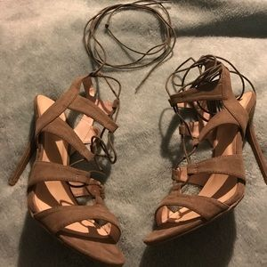 Taupe Lace-Up Heels