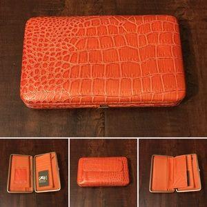 Amor Adore Handbags - 8. Orange Snake Print Hananel Wallet