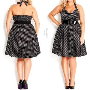 City Chic Polka Dot Fit & Flare Halter Dress Plus