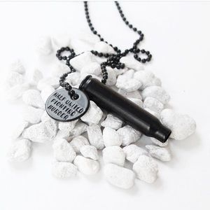 ☆ Matte Black Bullet Necklace