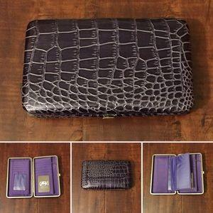 Amor Adore Handbags - 12. Plum Snake Print Hananel Wallet