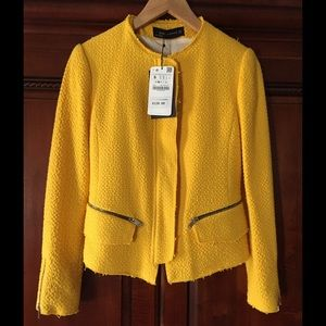 Zara Yellow Tweed Jacket with Zippers. Size S