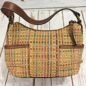 Fossil leather wicker shoulder bag