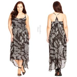 City Chic Dresses & Skirts - City Chic Strappy V Neck Ruffled Maxi Dress Plus