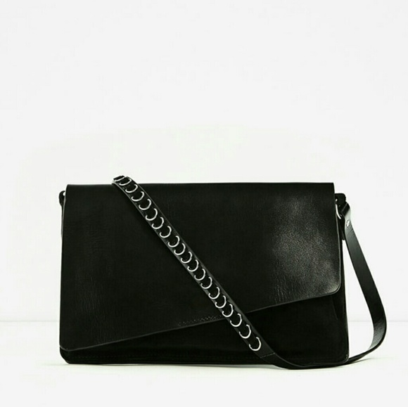 d4e28bc0 Zara Black Leather Crossbody Bag NWT