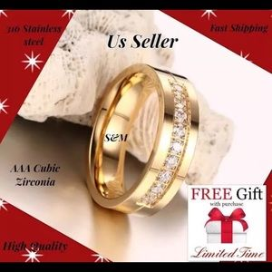 Jewelry - Gold fashion stainless wedding women men ring