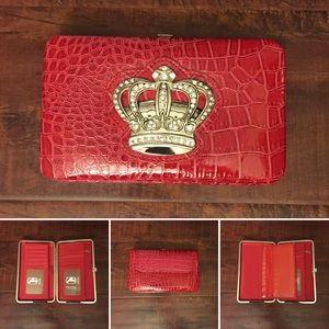 Amor Adore Handbags - 19. Red W/Crown Detail Hananel Wallet