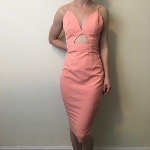 house of cb Dresses & Skirts - NWT House of CB Salmon Pink Cut Out Midi Dress
