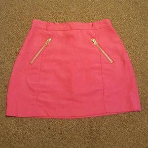 H&M pink mini skirt with gold zipper